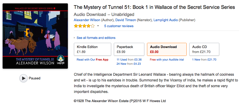 First unabridged audio edition of Mystery of Tunnel 51 published by Lamplight Audio.