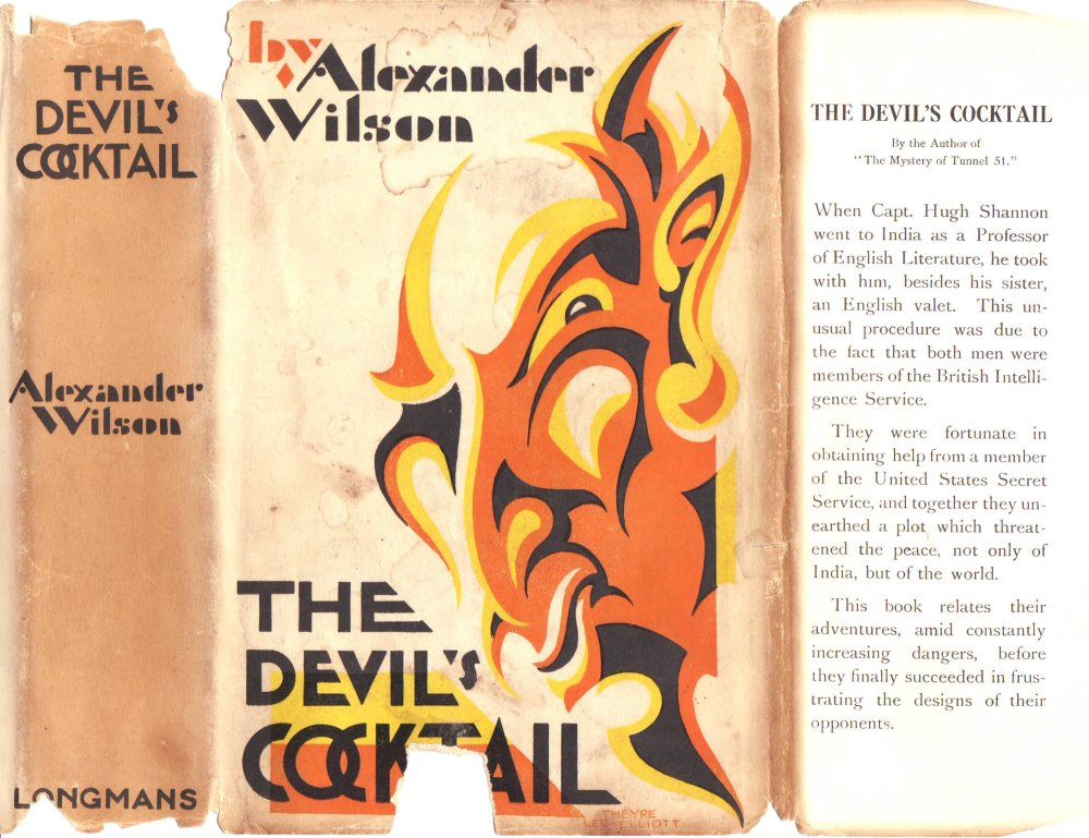 The original cover of the first edition of 'The Devil's Cocktail' published by Longman, Green and Company in 1928. Image: Copyright The Alexander Wilson Estate.