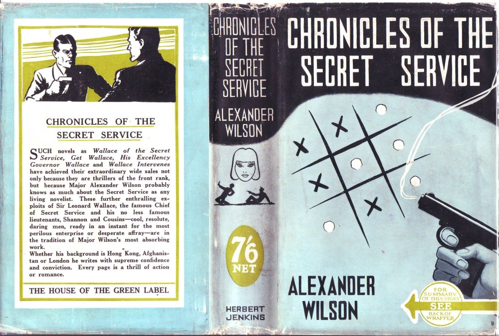 The cover of 'Chronicles of the Secret Service' when published by Herbert Jenkins in 1940.