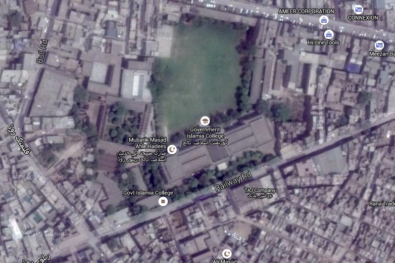 A contemporary Google satellite view of Government Islamia College, in the Railway Road, Lahore.