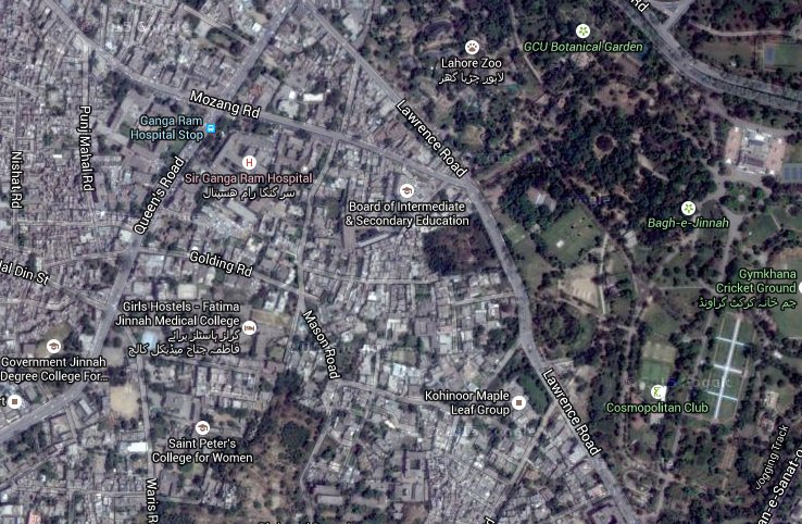 Masson Road- now named Mason Road, Lahore. Google satellite image.