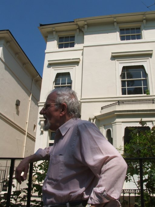 Alexander Wilson's son by his second marriage, the poet and actor Mike Shannon outside 53 Bloomfield Road where he was brought up in the 1930s. Image: Tim Crook.