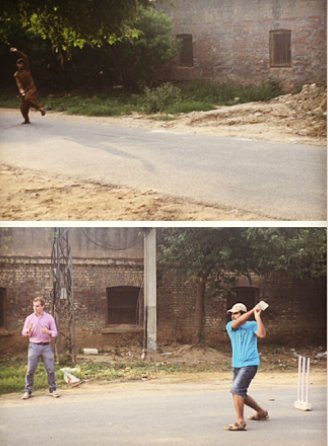 Christopher McGill playing street cricket in Lahore in 2015- a game his great grandfather Alexander Wilson loved and played. He was a member of the MCC at Lords.