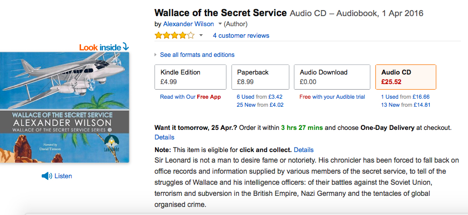 Lamplight Audio's production of Wallace of the Secret Service. The unabridged reading is by the actor David TImson.