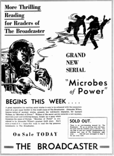 'Microbes of Power' was serialised in Australia in a story magazine called 'The Broadcaster' Image: Advert from West Australian Perth.
