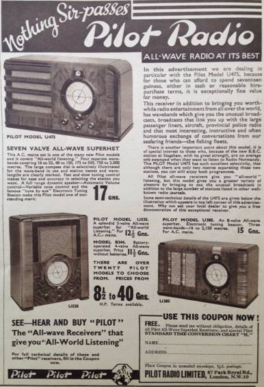 The kind of radio sets being stocked by Selfridges at the time of the publication of 'Get Wallace' in the middle 1930s. Image: AWE